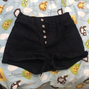 brandy charlotte black denim jean shorts